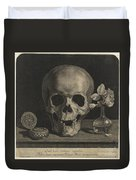Still Life With A Skull And A Vase Of Roses Duvet Cover