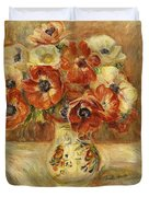 Still Life With Anemones  Duvet Cover by Pierre Auguste Renoir