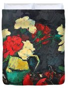 Still Life With Apples And Carnations Duvet Cover by Ana Maria Edulescu