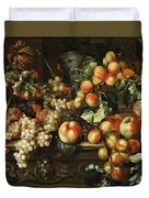 Still Life With Apples And Grapes Duvet Cover