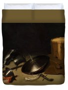 Still Life With Armor Shield Halberd Sword Leather Jacket And Drum Duvet Cover