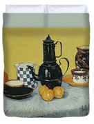 Still Life With Blue Enamel Coffeepot, Earthenware And Fruit, 1888 Duvet Cover