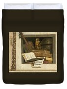 Still Life With Books Sheet Music Violin Celestial Globe And An Owl Duvet Cover