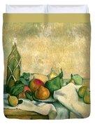 Still Life With Bottle Of Liqueur Duvet Cover by Paul Cezanne