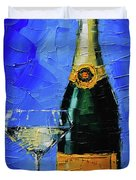Still Life With Champagne Bottle And Glass Duvet Cover