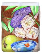 Still Life With Fish Duvet Cover by Loretta Nash