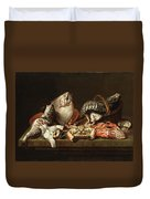 Still Life With Fishes, A Crab And Oysters Duvet Cover