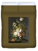 Still Life With Flowers In A Glass Vase Duvet Cover
