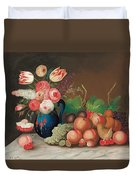Still Life With Fruit And Flowers Duvet Cover
