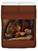 Still Life With Fruits And Pumpkin Duvet Cover