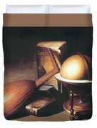 Still Life With Globe Lute And Books Duvet Cover
