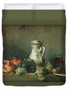 Still Life With Grapes And Pomegranates Duvet Cover