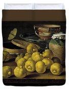 Still Life With Lemons And A Pot Of Honey Duvet Cover