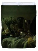 Still Life With Metal Dishes, Fruits And Fresh Flowers Duvet Cover