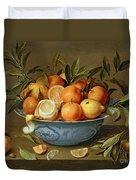Still Life With Oranges And Lemons In A Wan-li Porcelain Dish  Duvet Cover by Jacob van Hulsdonck