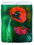 Still Life With Poppies. Duvet Cover