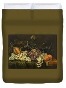 Still Life With Red Black And Green Grapes Duvet Cover