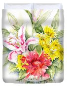 Still Life With Red Zinnia Duvet Cover