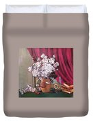 Still Life With Roses And Books Duvet Cover