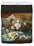 Still Life With Roses In A Cup Ornamental Object And Score Duvet Cover
