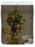 Still Life With Vase Of Hawthorn, Bowl Of Cherries, Japanese Bowl, And Cup And Saucer 1872 Duvet Cover