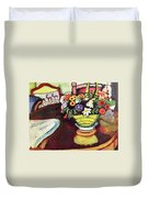 Still Life With Venison And Ostrich Pillow By August Macke Duvet Cover