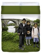 Stirling School Children By The Medieval Bridge  Duvet Cover