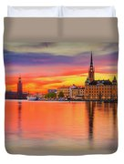 Stockholm Fiery Sunset Reflection Duvet Cover