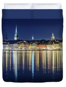 Stockholm Old City Magic Quartet Reflection In The Baltic Sea Duvet Cover