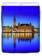 Stockholm Riddarholmen Blue Hour Reflection Duvet Cover