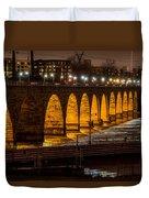 Stone Arch Bridge Night Shot Duvet Cover