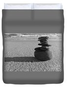 Stone Balance On The Beach In Monochrome Duvet Cover