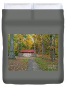 Stone Building In The Park Duvet Cover