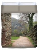Stone Building Wall And Fence Duvet Cover
