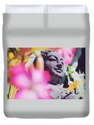 Stone Carved Statue Of Buddha Surrounded With Colorful Flowers Bali, Indonesia Duvet Cover