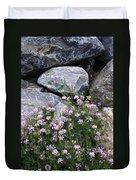Stone Flowers Pink Duvet Cover