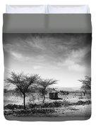 Stone Hut Set In Grassland Plains Duvet Cover by David DuChemin