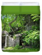 Stone Stairway Along The Wissahickon Creek Duvet Cover