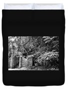 Stone Stairway Along The Wissahickon Creek In Black And White Duvet Cover