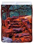Stone Steps In Autumn Duvet Cover