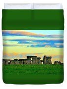 Stonehenge Sunset In Spring Duvet Cover