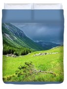Storm Approaching Over Beautiful Green Field In Norway Duvet Cover