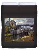 Storm Aproach At Lockport Locks Duvet Cover