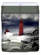 Storm At The Grand Haven Lighthouse Duvet Cover