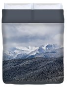 Storm Clouds Receding And Fresh Snow On Pikes Peak Duvet Cover