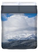 Storm Clouds And Snow On Pikes Peak Duvet Cover