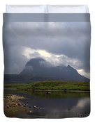 Storm Clouds Passing Across Suilven  And Fion Loch Near Ullapool Ross And Cromarty Scotland Duvet Cover