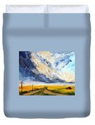 Storm Over The Country Road Duvet Cover