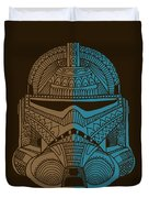 Stormtrooper Helmet - Star Wars Art - Brown Blue Duvet Cover