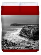 stormy sea - Slow waves in a rocky coast black and white photo by pedro cardona Duvet Cover